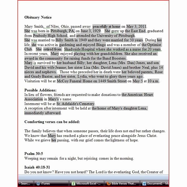 Free Obituary Templates for Word New Obituary Template for Word Free Download
