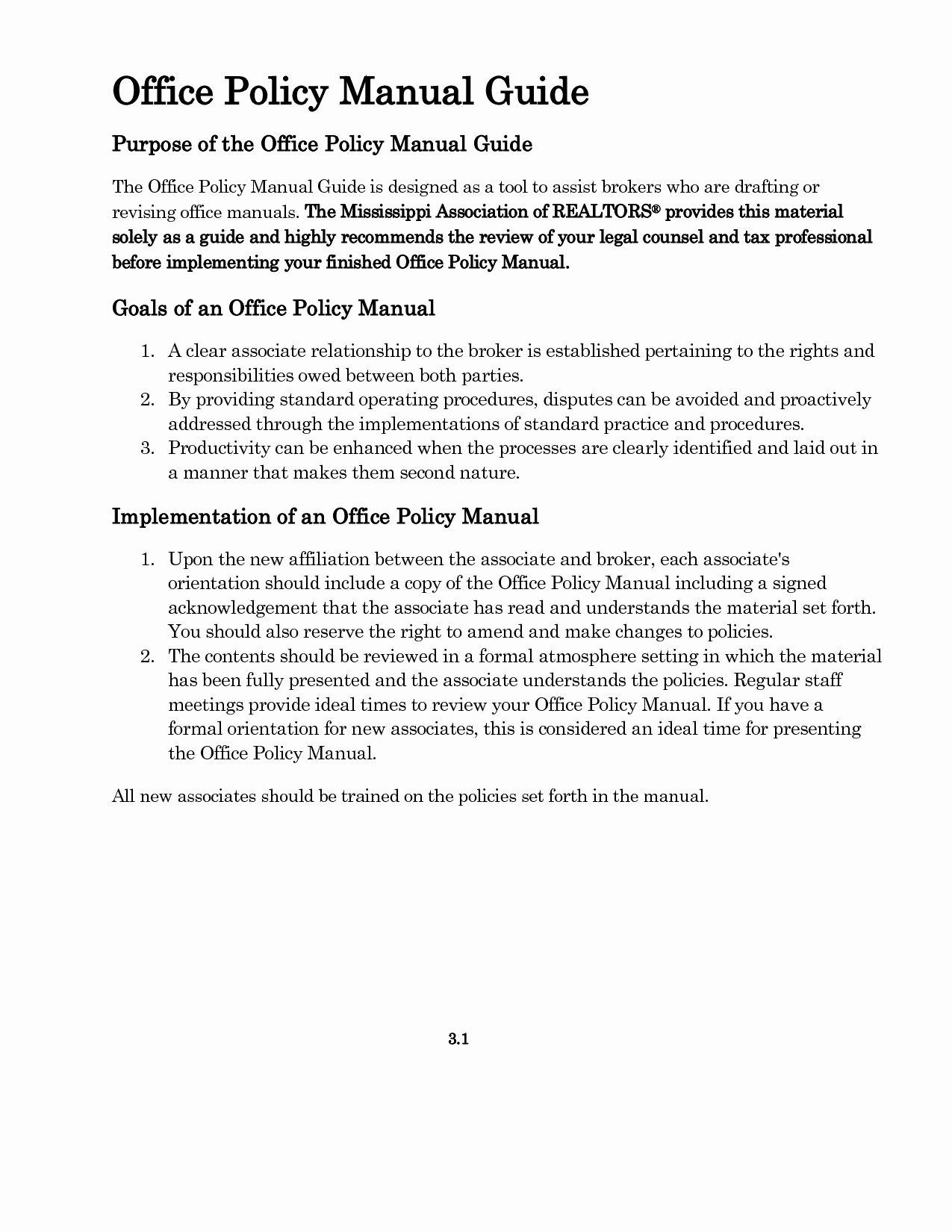 Free Office Procedures Manual Template Luxury Fice Policy and Procedures Template