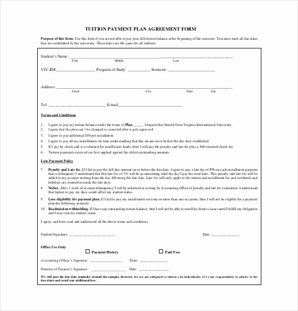 Free Payment Agreement Template Awesome Payment Agreement Template
