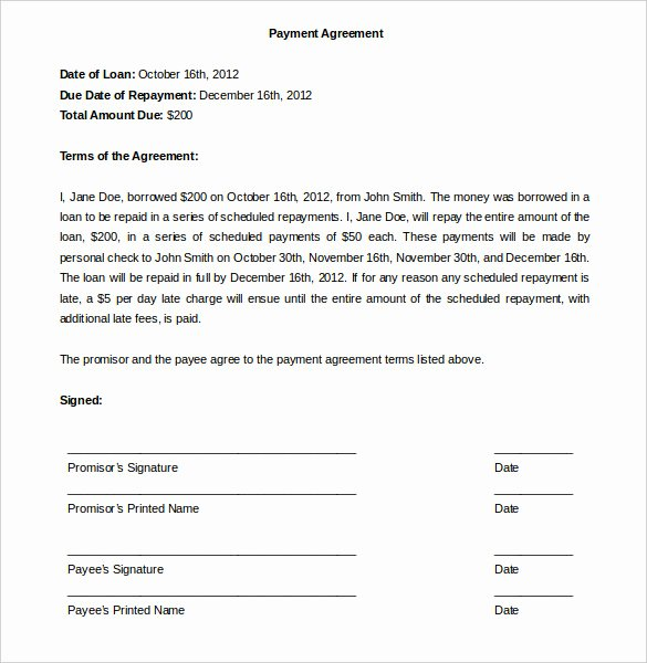 Free Payment Agreement Template Best Of Payment Plan Agreement Template 12 Free Word Pdf