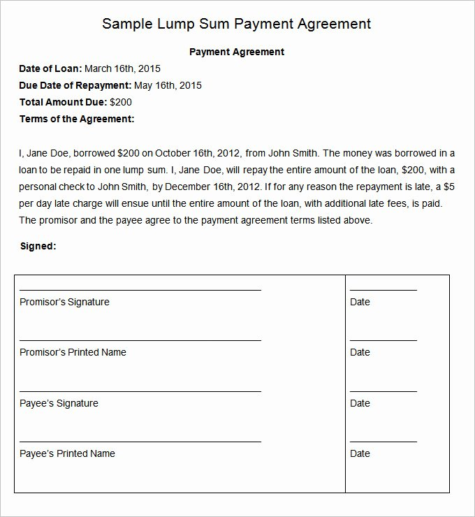 Free Payment Agreement Template Elegant Payment Plan Agreement Template 12 Free Word Pdf