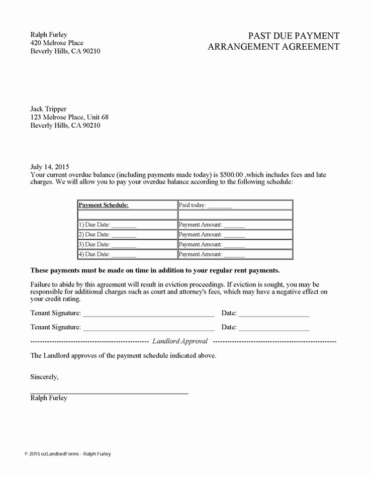 Free Payment Agreement Template New Past Due Payment Arrangement Agreement