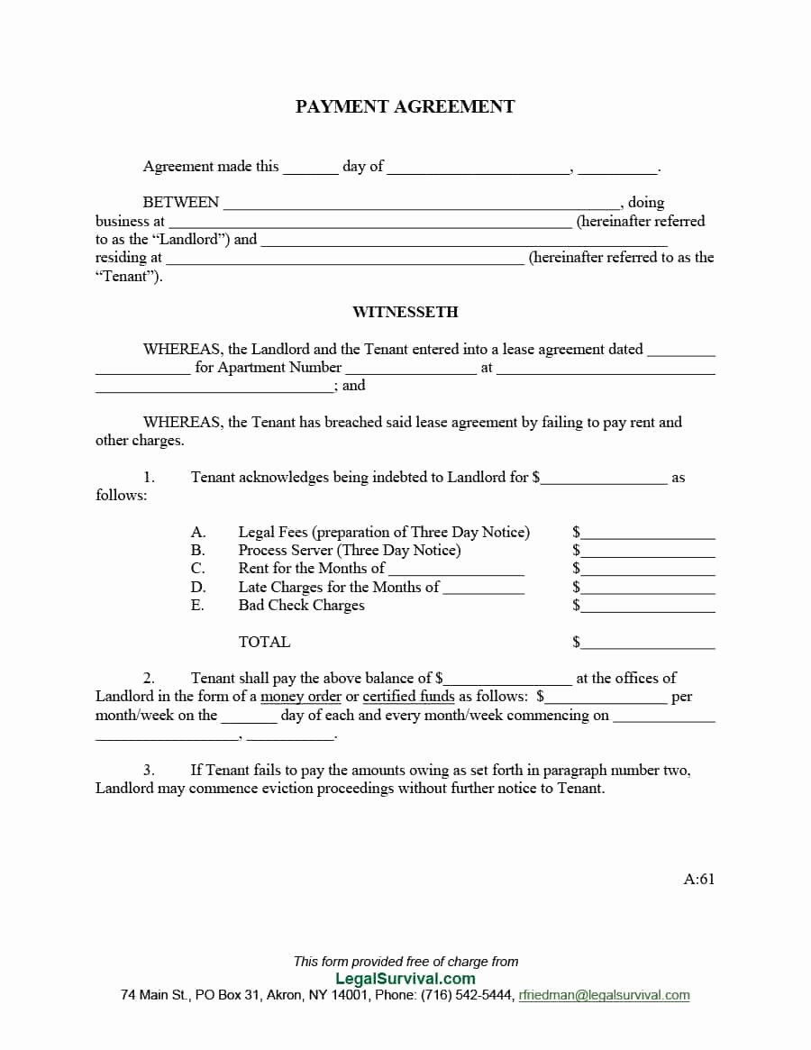 Free Payment Agreement Template Unique Payment Agreement 40 Templates & Contracts Template Lab