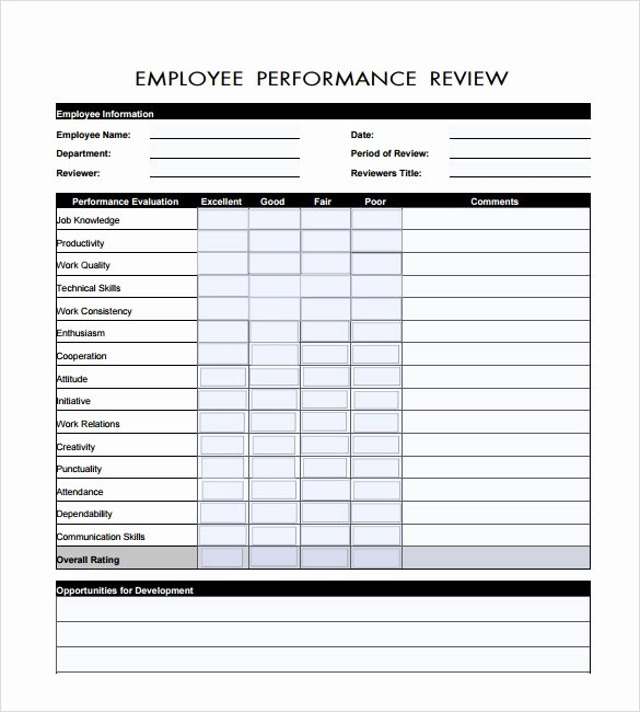 Free Performance Review Template Inspirational Sample Employee Review Template 6 Documents In Pdf Word