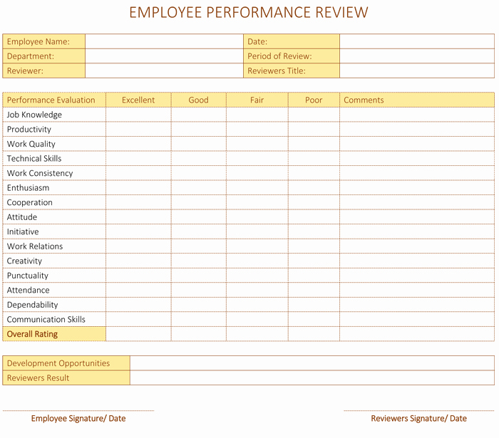 Free Performance Review Template New Employee Performance Review Template for Word Dotxes