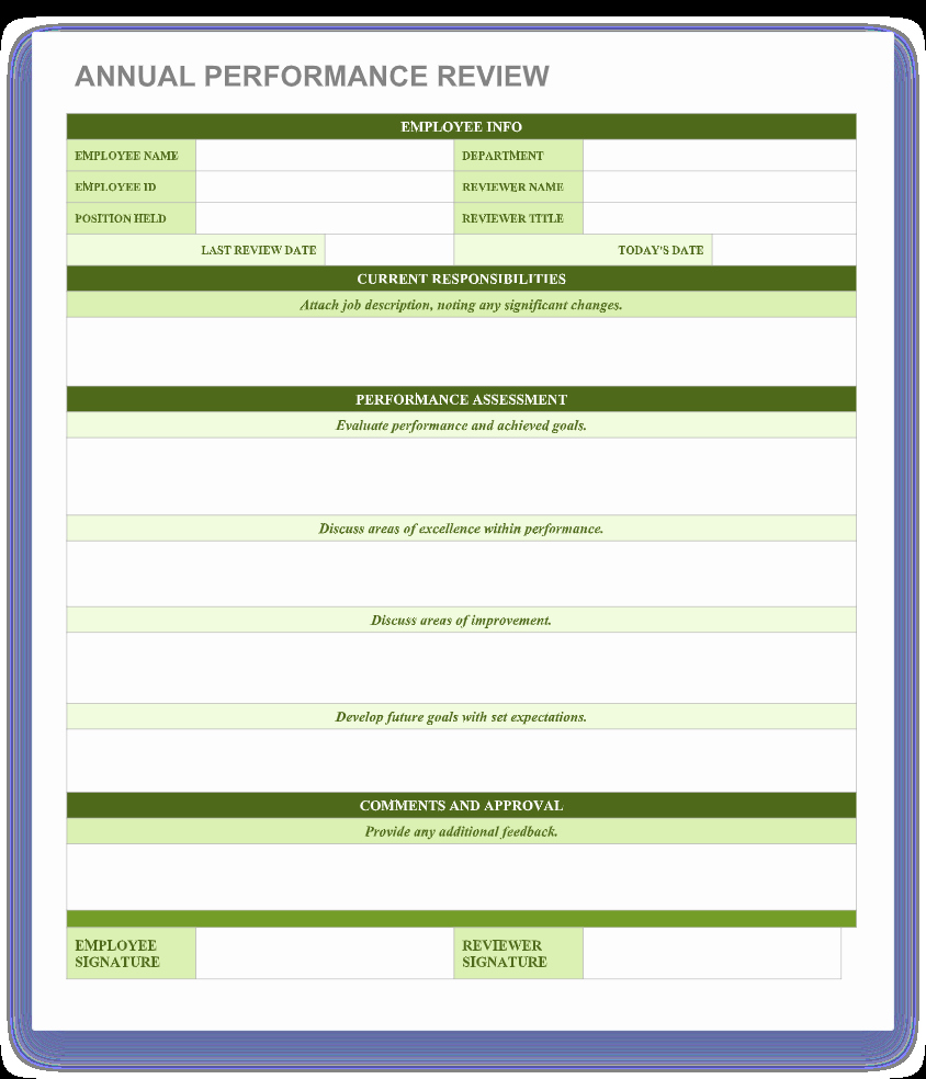 Free Performance Review Template Unique 70 Free Employee Performance Review Templates Word Pdf