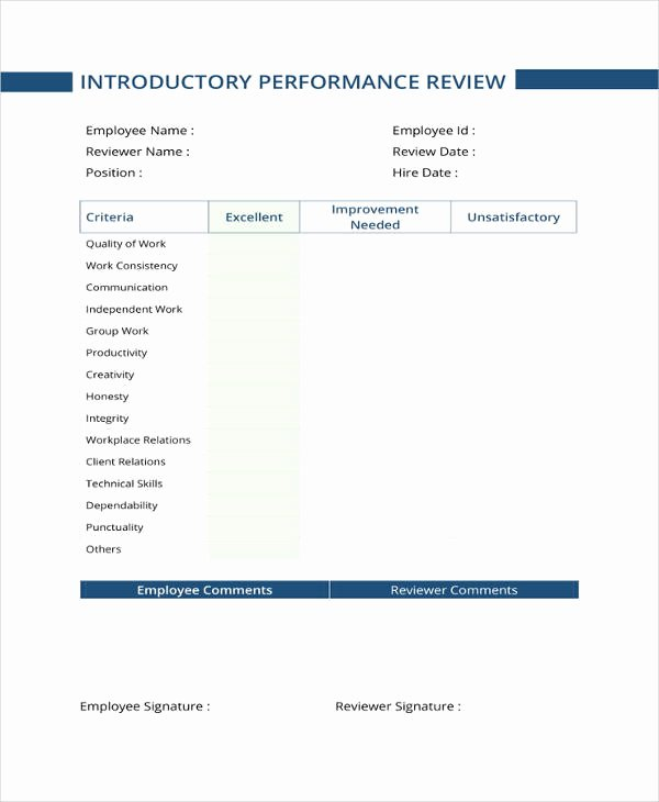 Free Performance Review Template Unique 9 Sample Performance Review Templates Pdf Doc