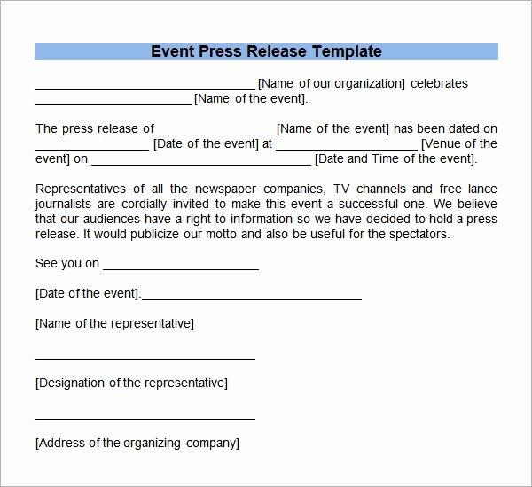 Free Press Release Template Beautiful Sample Press Release Templates 7 Free Documents