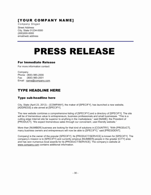 Free Press Release Template Lovely 21 Free Press Release Template Word Excel formats