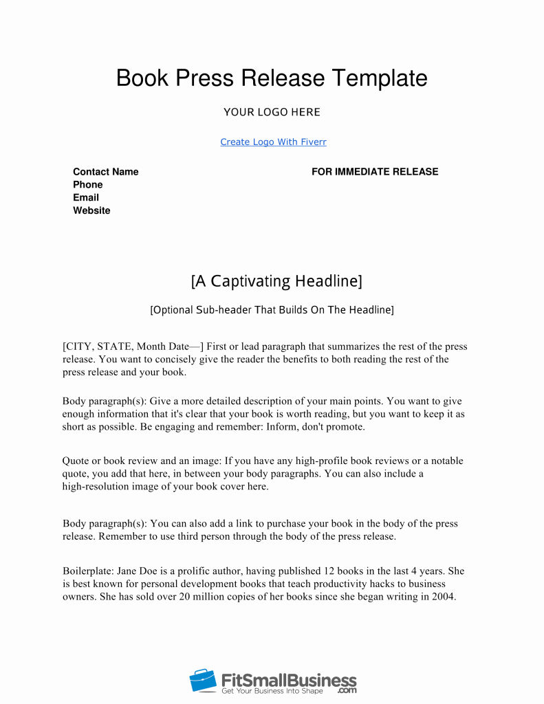 Free Press Release Template Luxury How to Write A Book Press Release In 9 Steps [ Free Template]