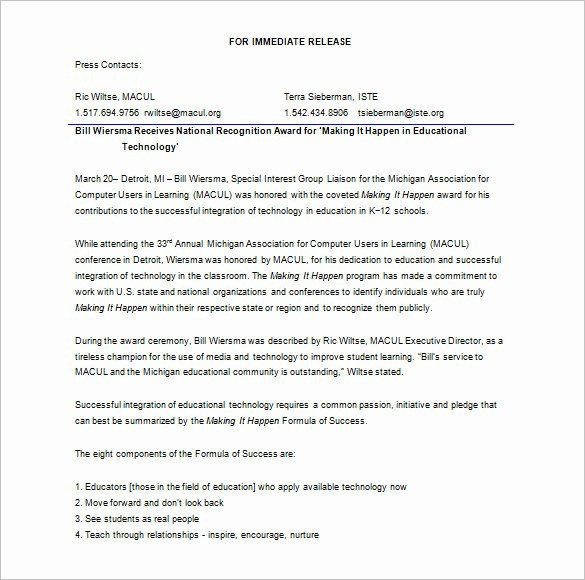 Free Press Release Template New 28 Press Release Template Word Excel Pdf