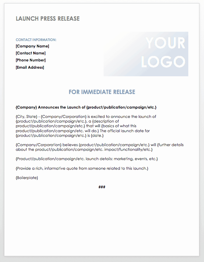 Free Press Release Template New Free Press Release Templates