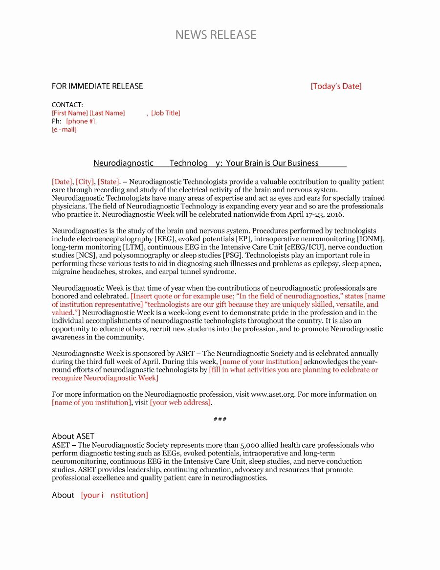 Free Press Release Template Unique 47 Free Press Release format Templates Examples & Samples
