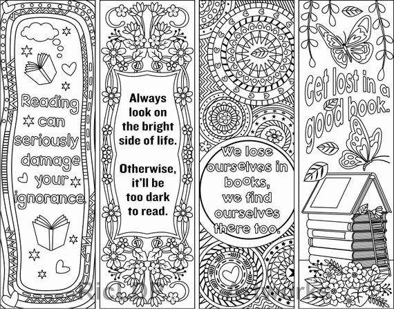 Free Printable Bookmark Templates Luxury Printable Coloring Bookmark Templates with Four Designs Plus