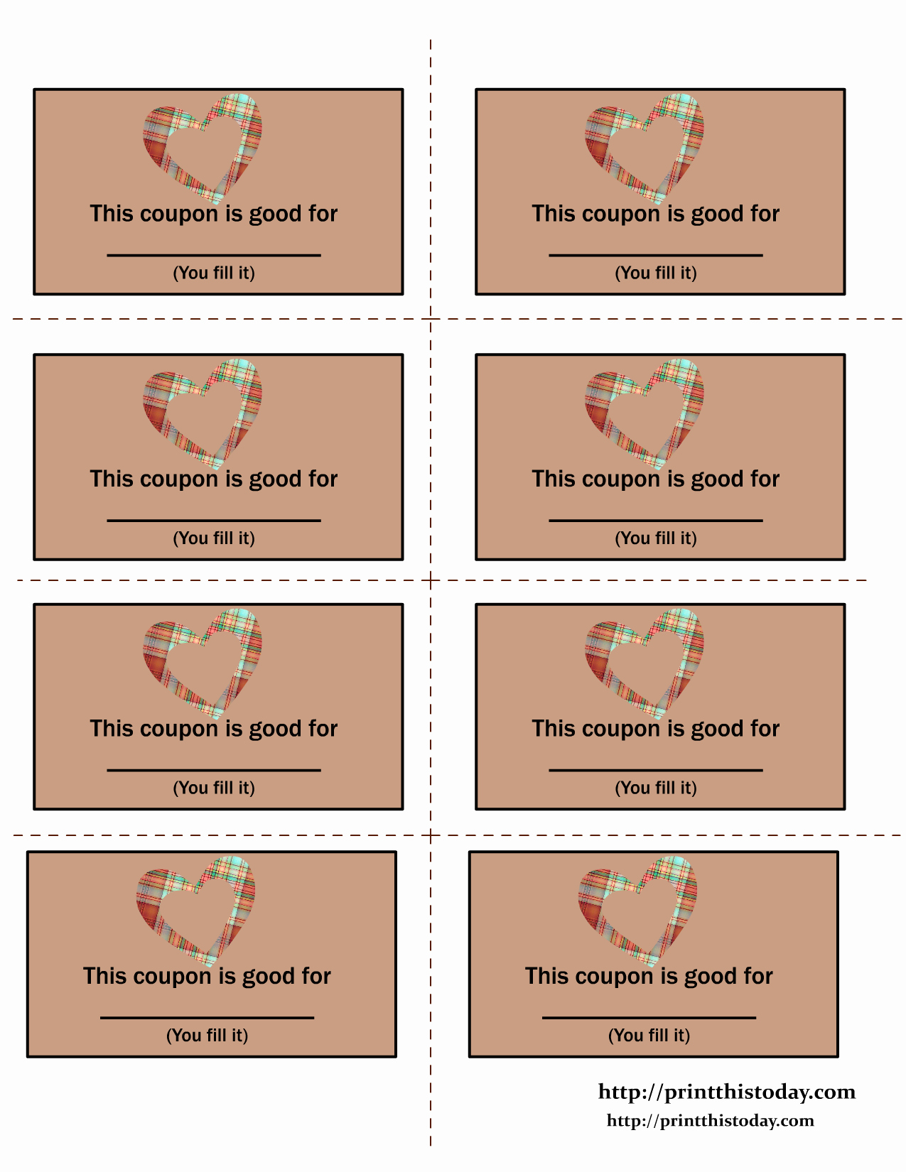 Free Printable Coupon Templates Awesome Printable Love Coupons