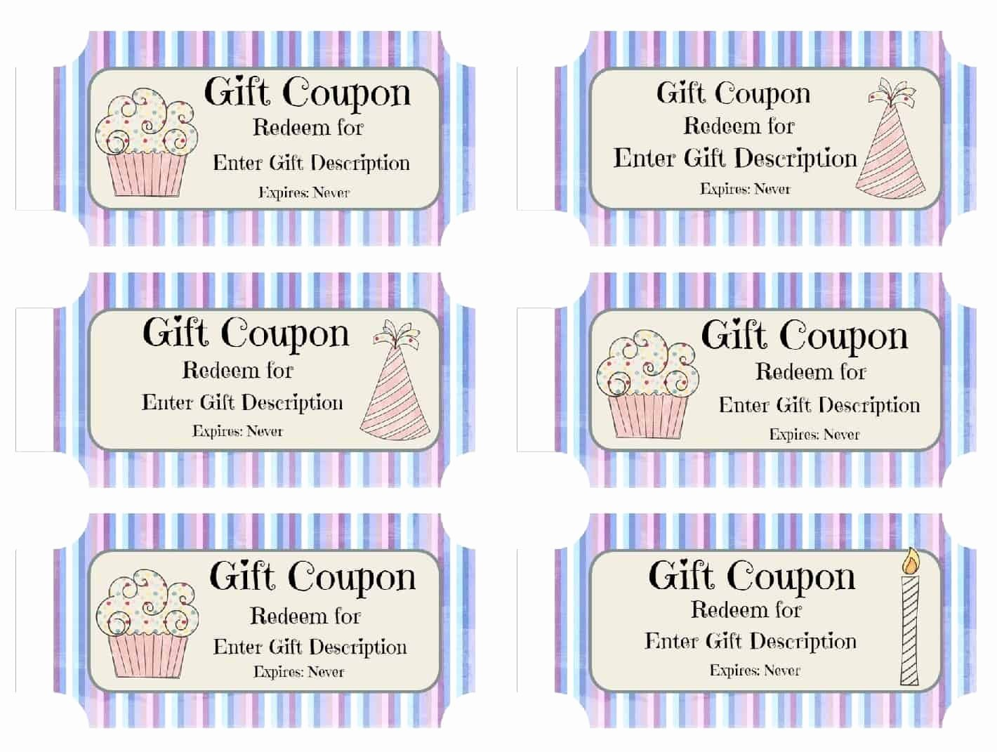 Free Printable Coupon Templates New Free Custom Birthday Coupons Customize Line & Print at