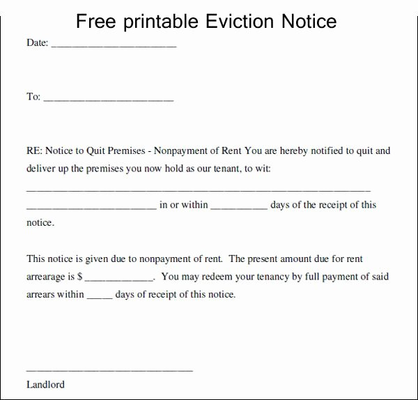 Free Printable Eviction Notice Template Beautiful Free Printable Eviction Notice Template