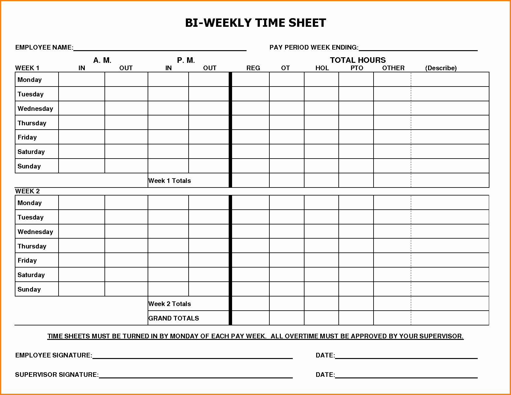 Free Printable Monthly Timesheet Template Elegant 8 Biweekly Payroll Timesheet Template