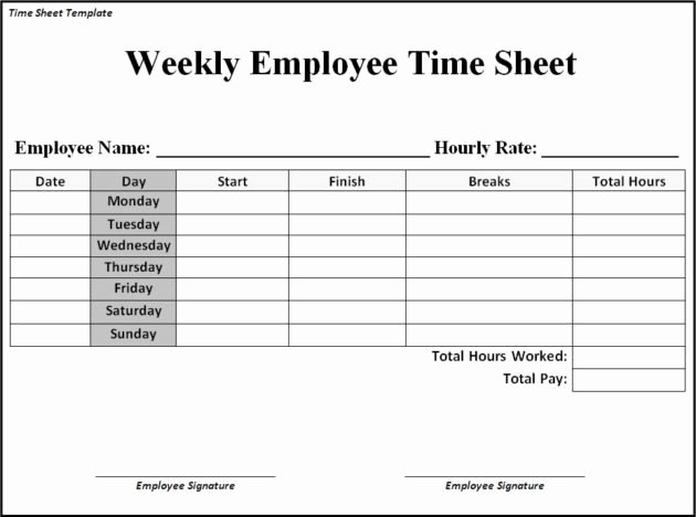 Free Printable Monthly Timesheet Template Unique Printable Weekly Timesheet Template