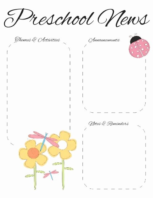 Free Printable Newsletter Templates Beautiful Preschool Spring Newsletter Template 2