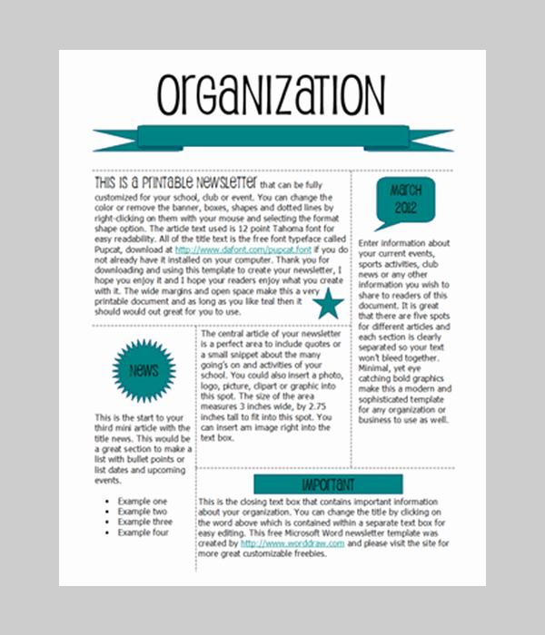 Free Printable Newsletter Templates Elegant Word Newsletter Template – 31 Free Printable Microsoft