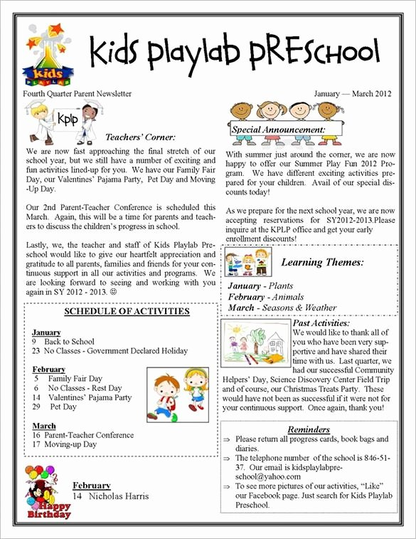 Free Printable Newsletter Templates Fresh 13 Printable Preschool Newsletter Templates Free Word