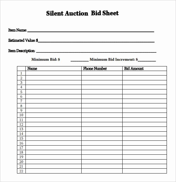 Free Printable Silent Auction Templates Awesome Silent Auction Bid Sheet Google Search