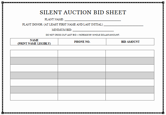 Free Printable Silent Auction Templates Best Of Plain Sheets Free Printable Silent Auction
