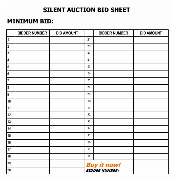 Free Printable Silent Auction Templates Elegant 6 Silent Auction Bid Sheet Templates formats Examples