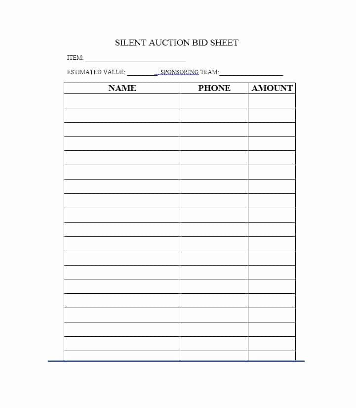 Free Printable Silent Auction Templates Fresh 40 Silent Auction Bid Sheet Templates [word Excel]