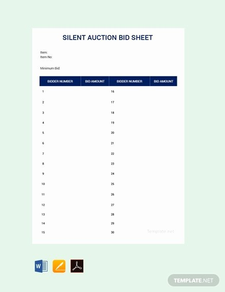 Free Printable Silent Auction Templates Fresh Free Bidding Sheet Template Download 380 Sheets In Word