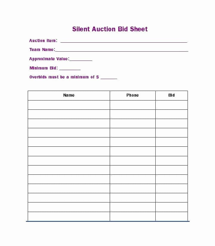Free Printable Silent Auction Templates Fresh Free Silent Auction Bid Sheet Templates Word Excel