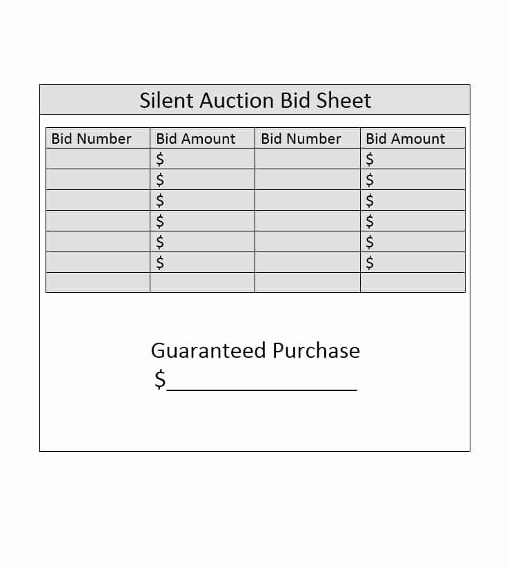 Free Printable Silent Auction Templates Inspirational Silent Auction Bid Sheet Template Free Word Printable