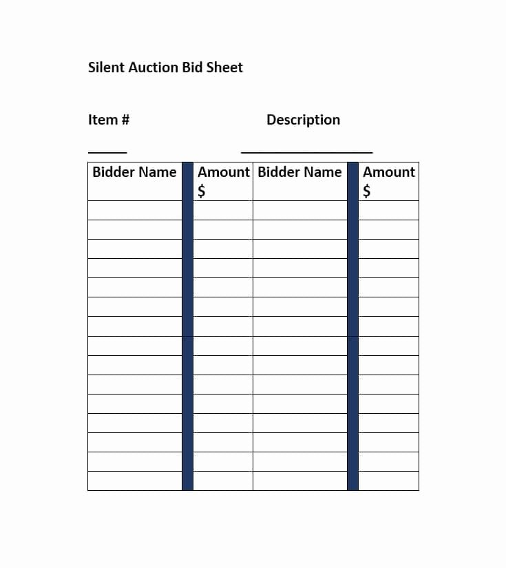 Free Printable Silent Auction Templates Lovely Silent Auction Bid Sheet Template Free Word Printable