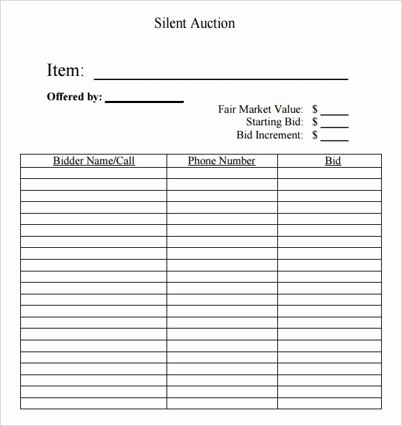 Free Printable Silent Auction Templates Luxury Silent Auction Bid Sheet Free