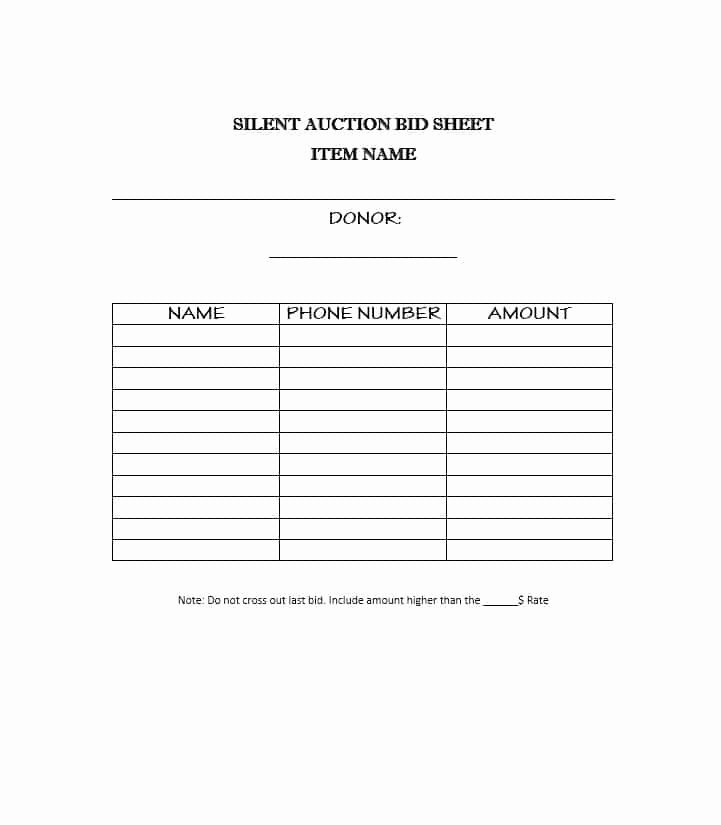 Free Printable Silent Auction Templates New 40 Silent Auction Bid Sheet Templates [word Excel]