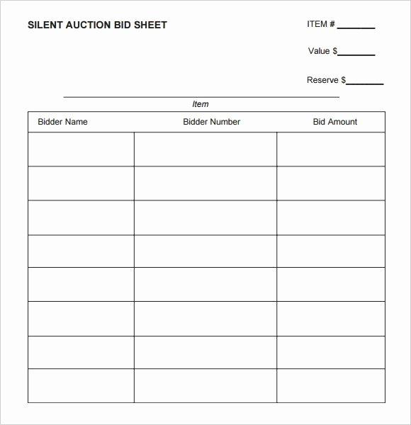Free Printable Silent Auction Templates Unique Silent Auction Bid Sheet Printable