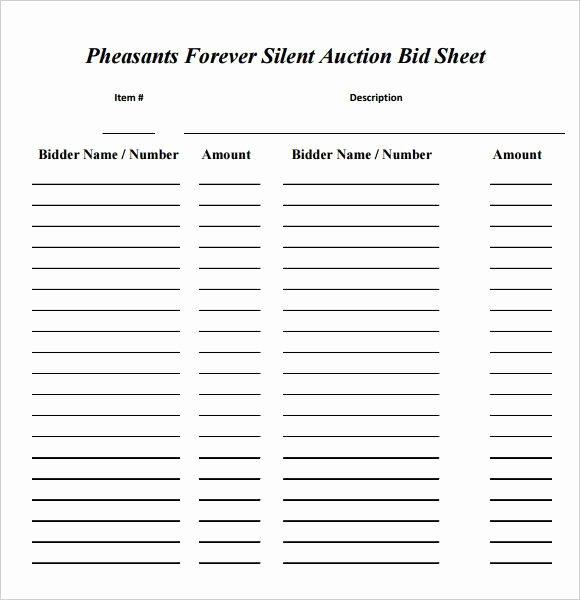 Free Printable Silent Auction Templates Unique Silent Auction Bid Sheet Template