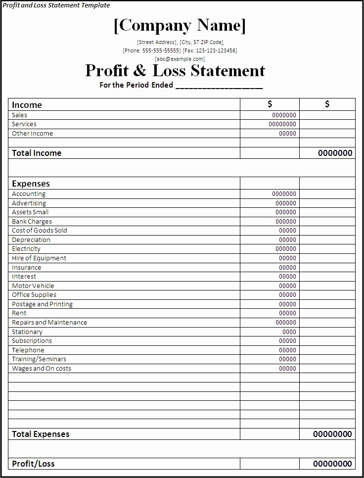Free Profit and Loss Template New Printable Profit and Loss Statement
