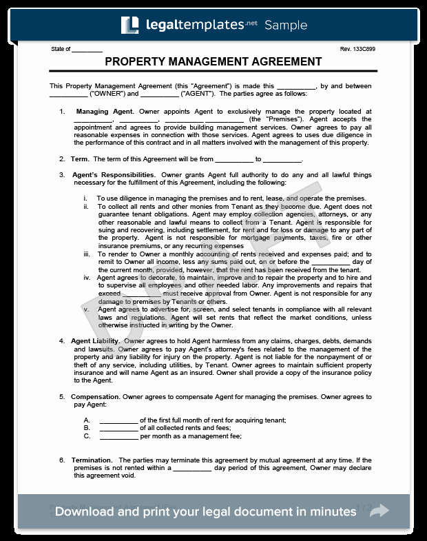 Free Property Management forms Templates Awesome Property Management Agreement