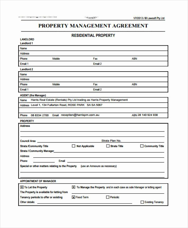 Free Property Management forms Templates Best Of Free 42 Business Agreement form In Template