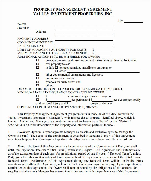 Free Property Management forms Templates Unique Free Property Management forms Templates