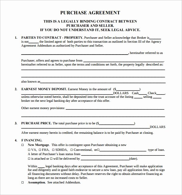 Free Purchase Agreement Template Beautiful Free 14 Sample Real Estate Purchase Agreement Templates