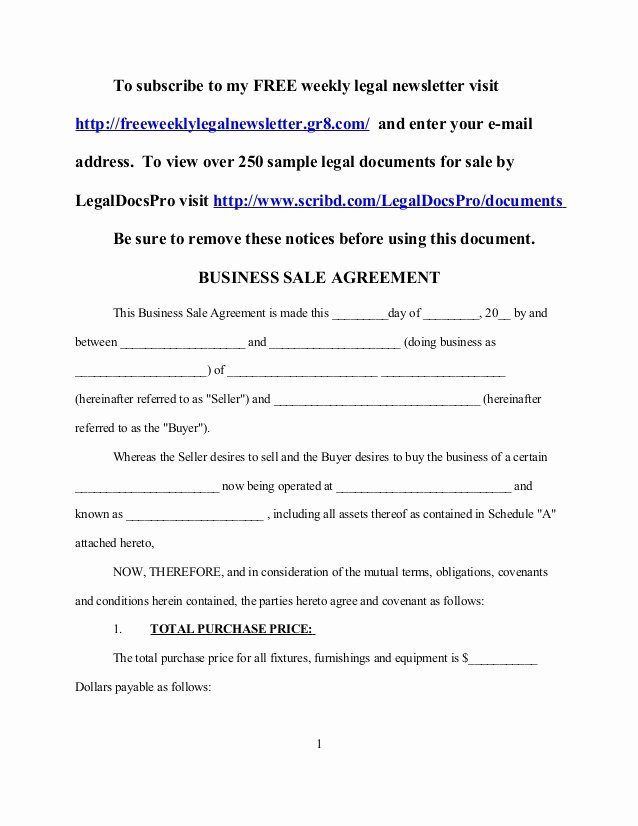 Free Purchase Agreement Template Best Of Sample Business Sale Agreement