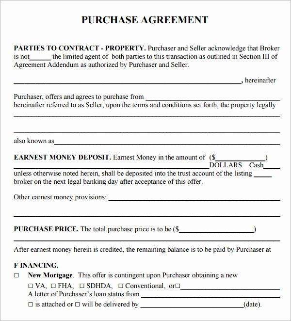 Free Purchase Agreement Template Elegant Free Real Estate Purchase Agreement Template Free