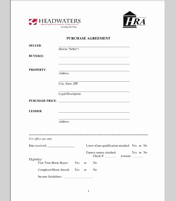 Free Purchase Agreement Template Fresh Purchase Agreement for House