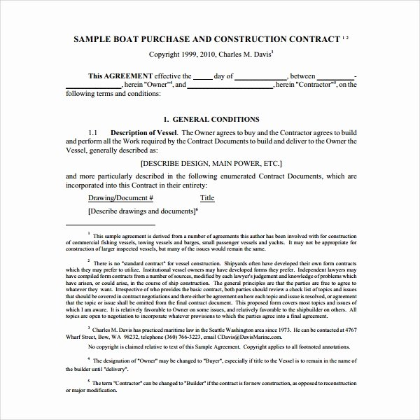 Free Purchase Agreement Template Lovely Sample Boat Purchase Agreement 10 Free Documents