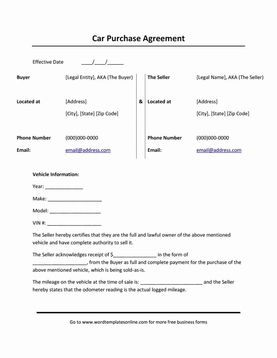 Free Purchase Agreement Template Unique 42 Printable Vehicle Purchase Agreement Templates