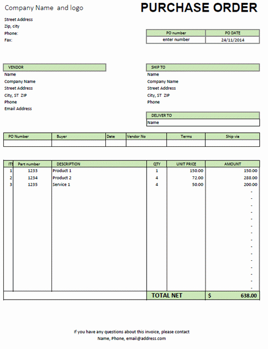 Free Purchase order Template Word Best Of Excel Purchase order Template Excel