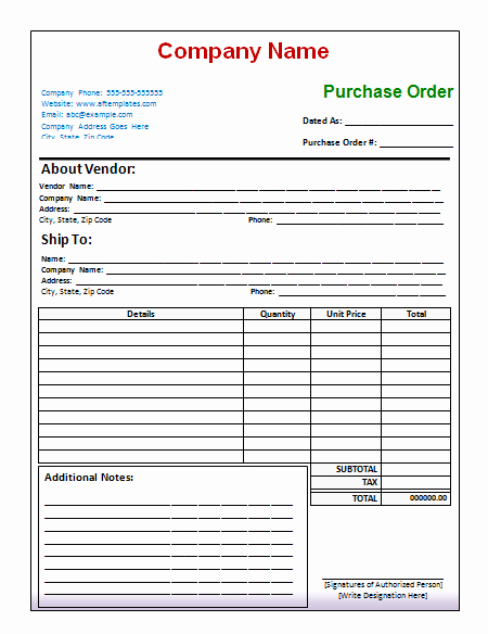Free Purchase order Template Word Luxury 10 Purchase order Template